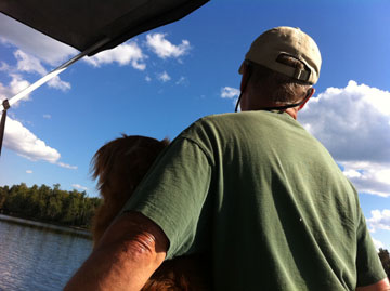 Dad & the Toller man the pontoon